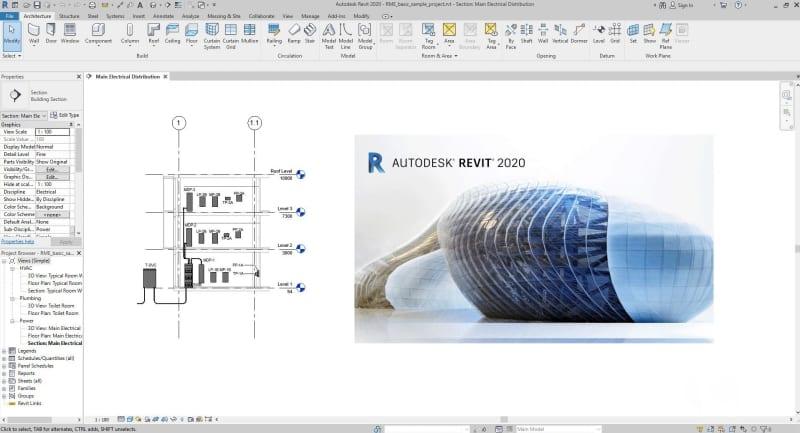 Interface de Revit, le logiciel BIM pour l'architecture