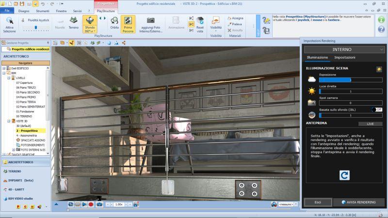 logiciels BIM de simulation dans une capture d'écran qui montre le Rendu réalisé avec AIrBIM issu de Edificius