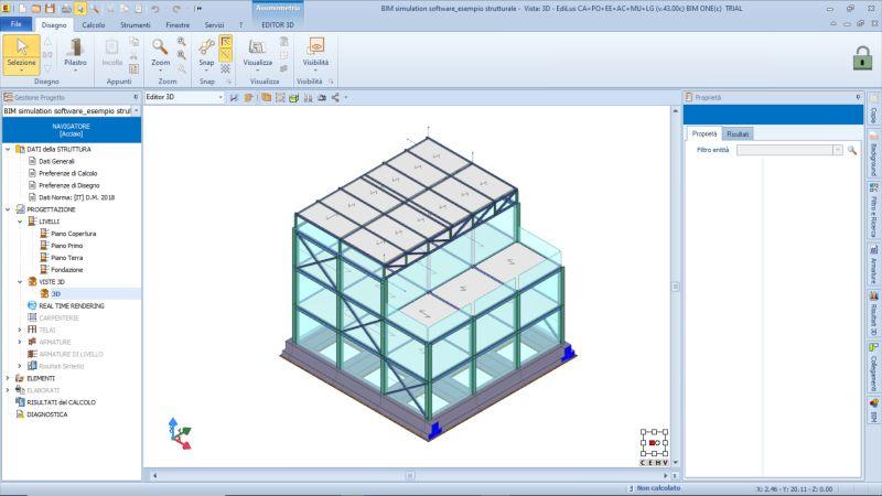 logiciels BIM de simulation dans une capture d'écran d'un modèle de calcul des structures d'un bâtiment en acier issu EdiLus