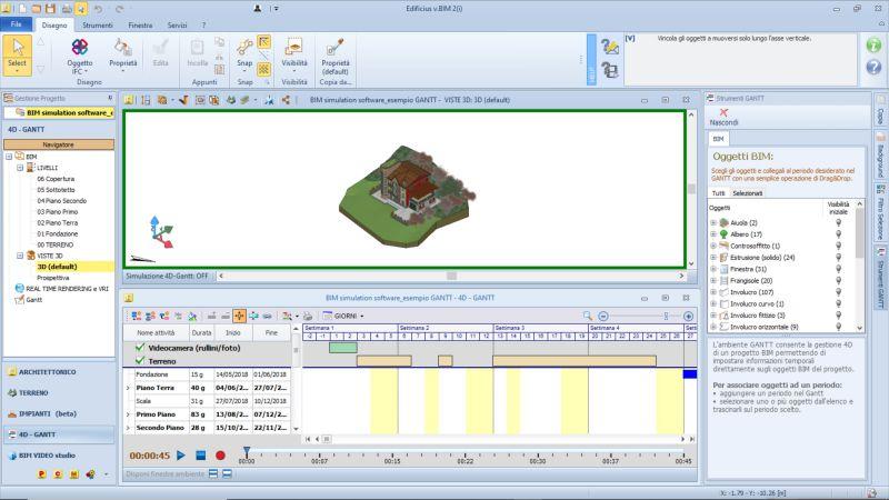 logiciels BIM de simulation dans une capture d'écran de la structure WBS sur une linge de temps dans un diagramme de GANTT issue de Edificius