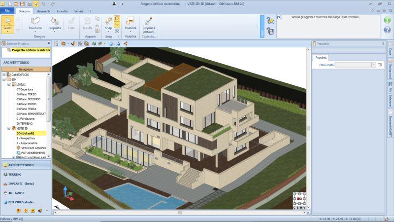 logiciels BIM de simulation, capture d'écran d'une maquette architecturale d'un bâtiment issue de Edificius