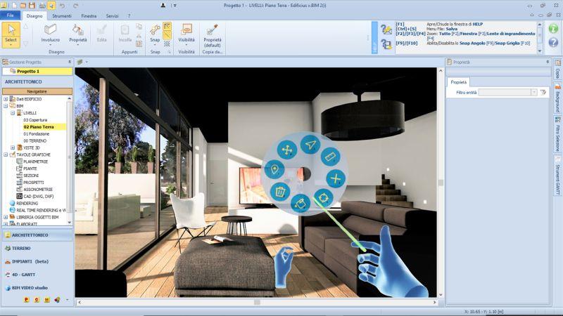 logiciels BIM de simulation dans une capture d'écran interface de la réalité virtuelle issu de Edificius