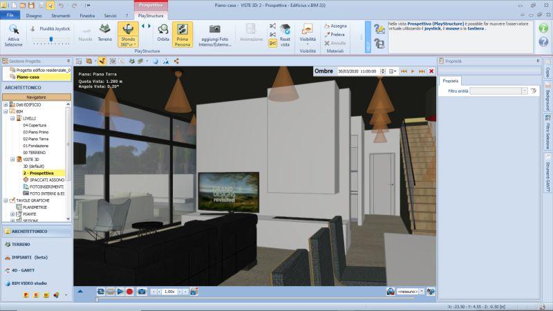 Image couleur qui représente une perspective, dans l'interface Edificius, avant de lancer le rendu
