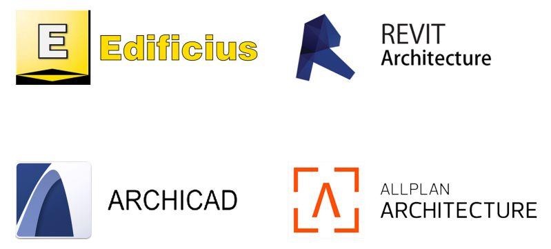 Logo des différents logiciels de conception architecturale BIM Edificius, Revit, Archicad, Allplan.
