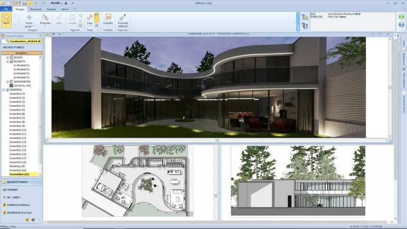 Des plans d'exécution avec une vue en plan, vue en coupe et un rendu issu de Edificius, le logiciel BIM pour l'architecture