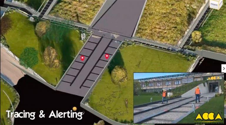 le BIM au services des gestes barrières image une maquette 3D qui repèrent des personnage se déplacent sur le site et qui permet d'alerter en cas de non respect de distanciation des deux personnes