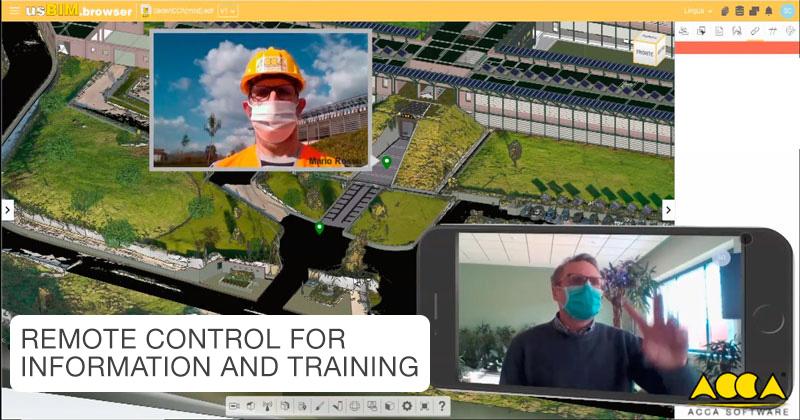 La diapositive représente un contrôle à distance et la possibilité de faire une formation a distance grace au BIM qui aide les gestes Barrières