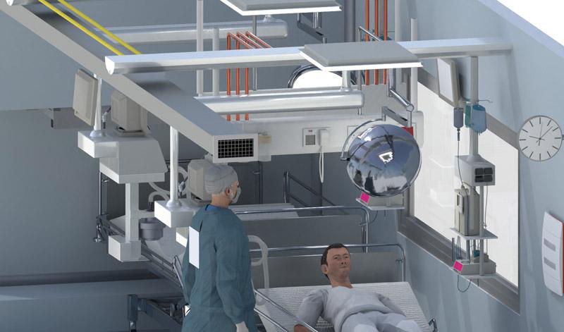 Le Bim au service de l'urgence sanitaire un rendu du conteneur qui représente l' intérieur type des soins intensif issu du logiciel Edificius