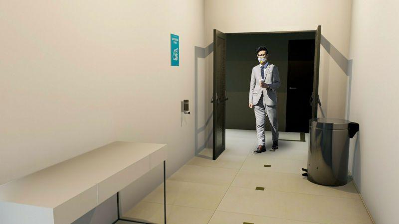 L'adaptation de bureaux : rendu de l'espace de l'entrée des bureaux issu du logiciel Edificius