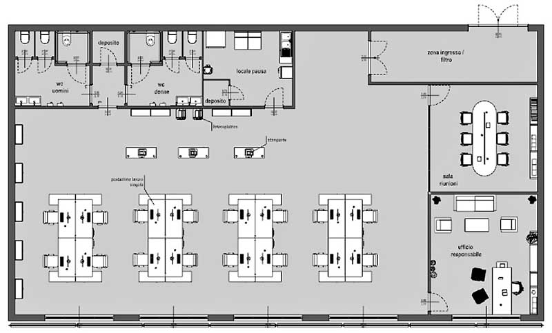 Adaptation de bureaux : vue en plan de la situation existante du bureau de l'adaptation de bureaux en fonction des mesures anti COVID-19