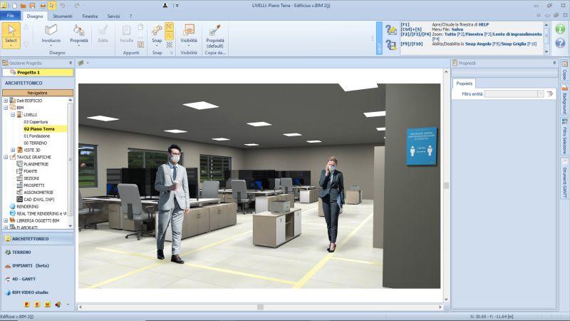 Interface du logiciel Edificius avec un rendu de l'adaptation de bureaux qui montre 2 personne qui suivent un parcours tracé au sol pour éviter garder la distanciation au gestes barrières du covid-19