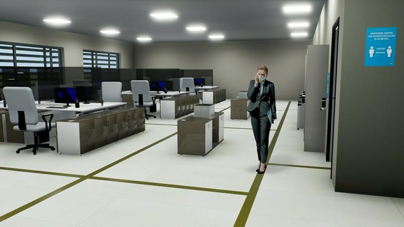 Reprise des activités phase 2 un rendu de l'adaptation d'un bureau open space issu du logiciel Edificius