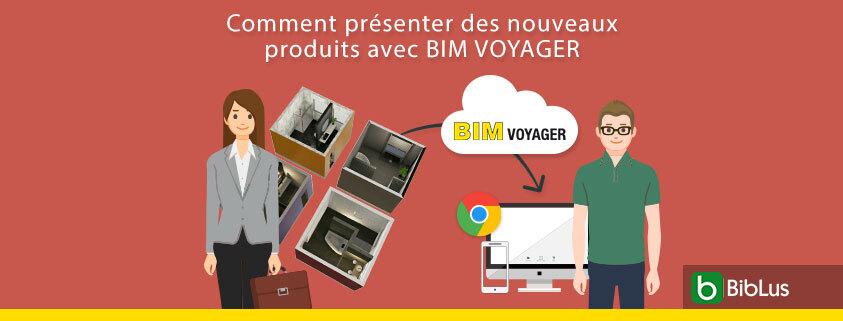 L'image de couverture représente deux personnes qui utilisent BIM VOYAGER pour presenter leurs showrooms virtuels pour vendre leur produits.