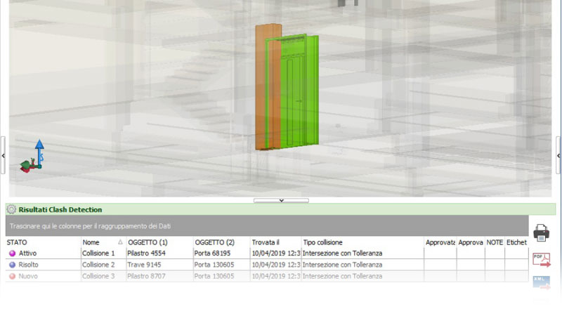 L'image est un exemple de detection de conflit dans une conception au format BCF.
