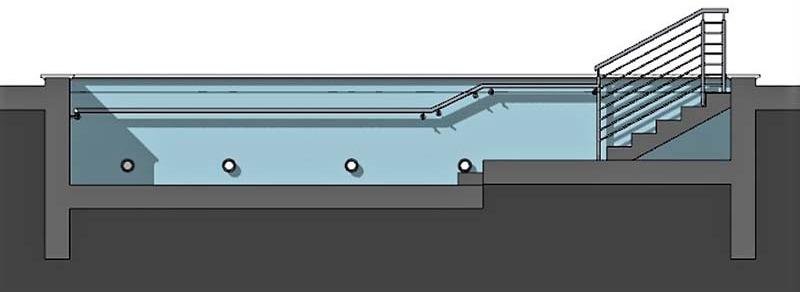 Plan de piscine, l'image représente une vue en coupe d'une piscine de rééducation qui montre les escaliers pour rentres dans le bassin et les différentes profondeur de la piscine.