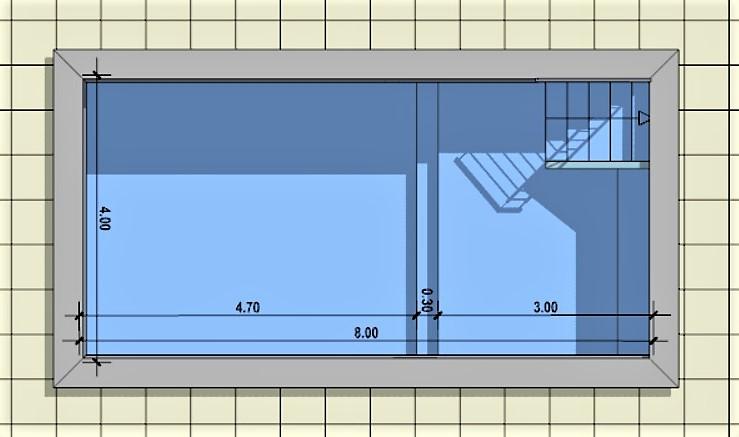 L'image montre une vue en plan d'une piscine rehabilitative issu du logiciel Edificius