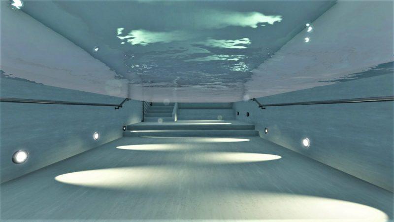 Plan de piscine, l'image est un rendu en immersion dans le bassin de la piscine de rééducation ou l'on peut observer les différentes hauteurs de fond, issu du logiciel Edificius pour la conception architecturale 3D BIM.