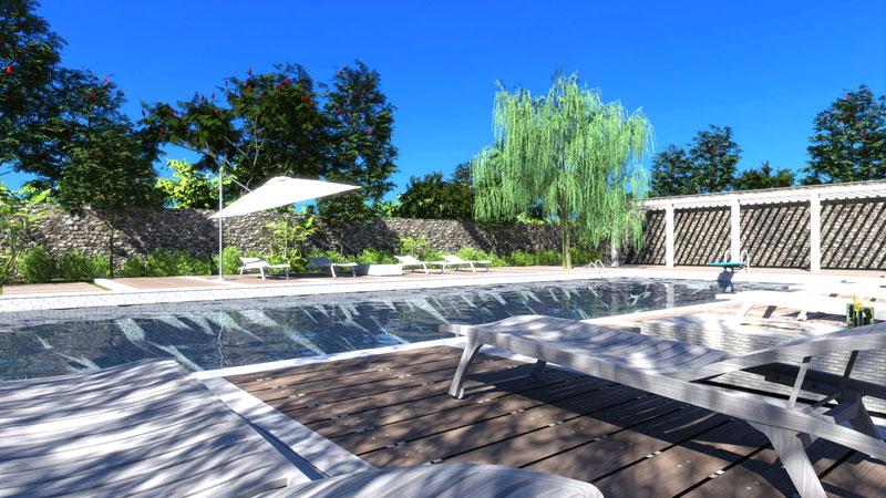 Plan de piscine, l'image est un rendu d'une piscine résidentielle avec un plongeoir et le revêtement au bord de la piscine en lamelle de bois tec ainsi que l'ombre calculer avec le moteur d'ensoleillement du logiciel Edificius.