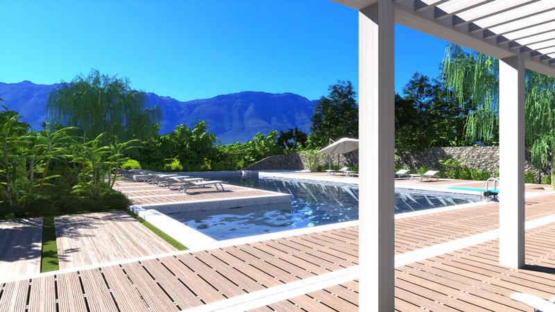 Plan de piscine, l'image est un rendu d'une piscine résidentielle avec un plongeoir et le revêtement au bord de la piscine en lamelle de bois teck, issu du logiciel Edificius.
