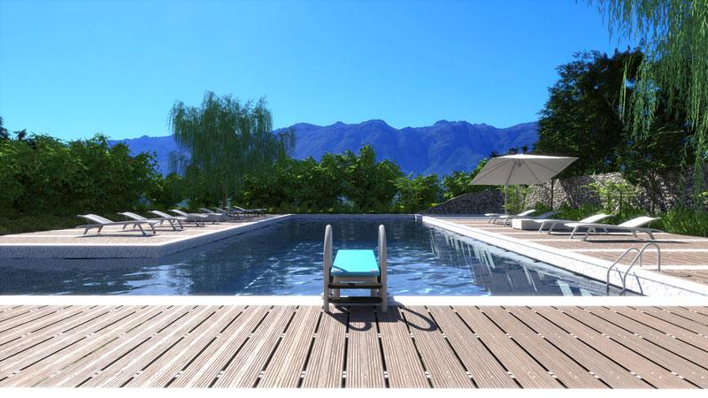 L'image est un rendu d'une piscine résidentielle avec un plongeoir et le revêtement au bord de la piscine en lamelle de bois teck, issu du logiciel Edificius