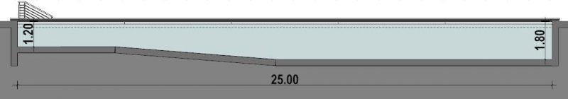 Plan de piscine, l'image set une coupe de la piscine semi-olympique avec ses 25 métrés de long et ses 1 métré 20 d'un côté est 1 métré 80 à l'autre bout, issu du logiciel Edificius.