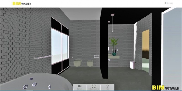 Une capture d'écran montrant comment naviguer dans des showrooms virtuels une modélisation de salle de bain avec BIM VOYAGER issu du logiciel Edificius pour la conception architecturale 3D BIM