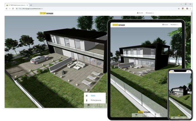 Showrooms virtuels:capture d'écran de BIM Voyager d'un ordinateur et qui peut etre visualiser sur un téléphone mobile fonctionnalité du logiciel Edificius