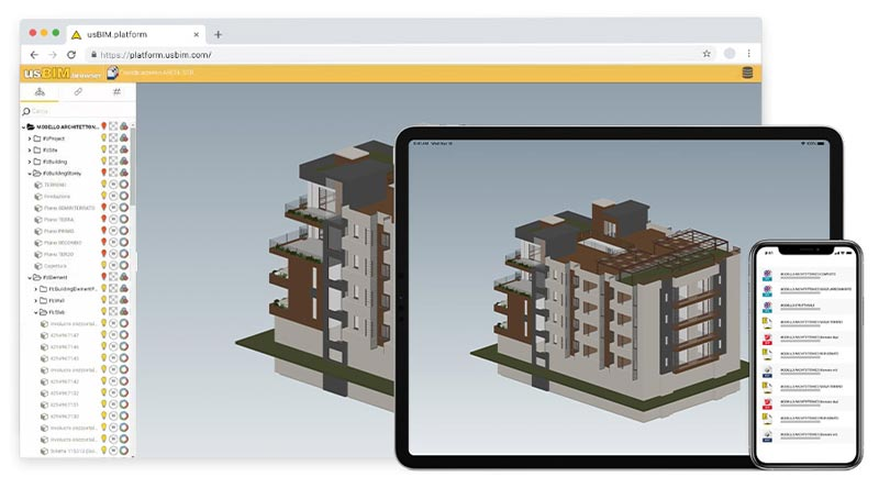 Plateforme collabrative usBIM.platform visualisable sur tablette et smartphone