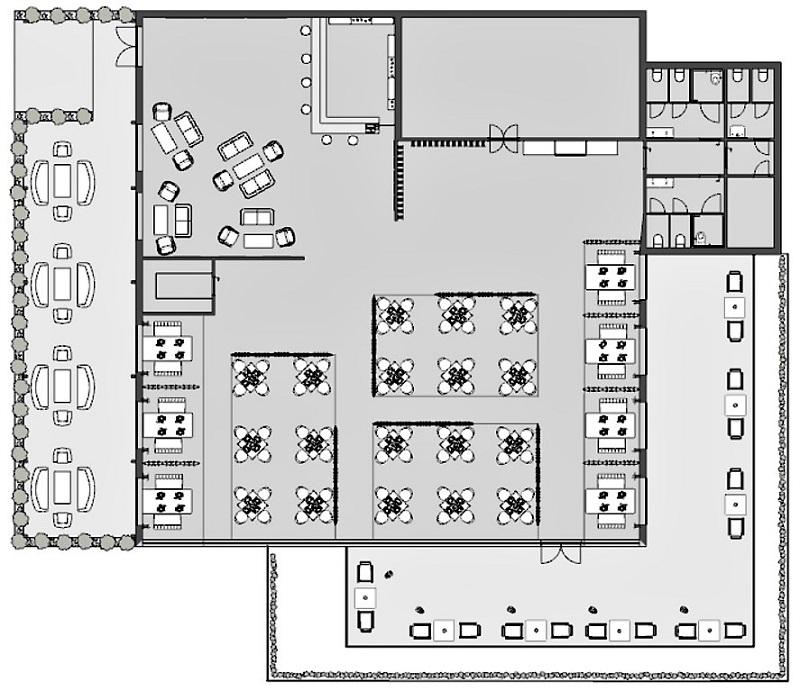 COVID-19 adaptation restaurant : l'image est une vue en plan de la situation existante du restaurant
