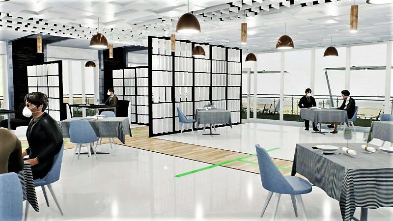 COVID-19 adaptation restaurant : l'image est un rendu de la salle à manger du restaurant issu du logiciel Edificius
