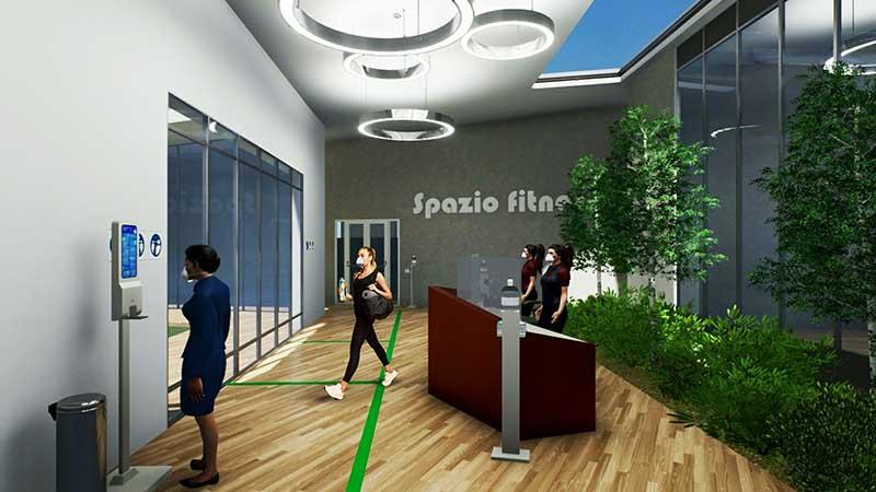 COVID-19-réhabiliter salles de sport : l'image est un rendu de la recption avec des personnages qui sorte et des bandes vertes au sol qui indique le cheminement à suivre est l'interface du logiciel Edificius