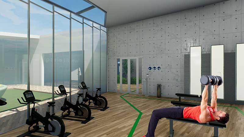COVID-19-réhabiliter salles de sport : l'image est un rendu de la salle de musculation avec un personnage qui fait du lever de poids et des bandes vertes au sol qui indique le cheminement à suivre