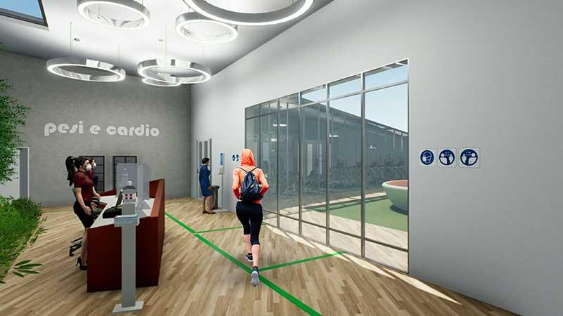 COVID-19-réhabiliter salles de sport : l'image est un rendu de la recption avec des personnages qui sorte et des bandes vertes au sol qui indique le cheminement à suivre