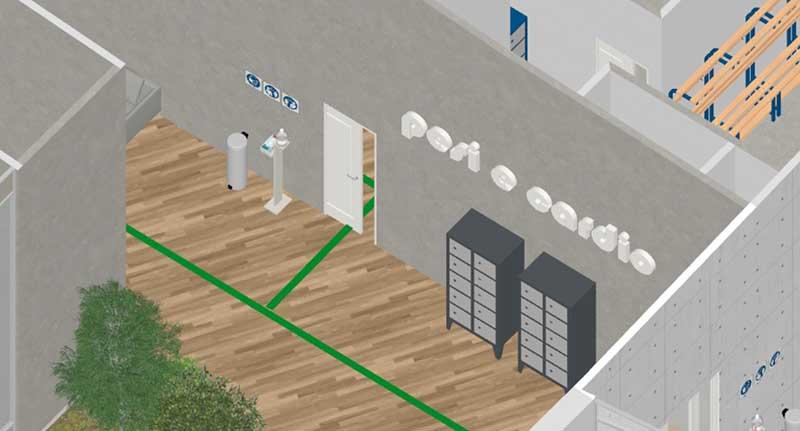 COVID-19-réhabiliter salles de sport : l'image est un rendu de détails des vestiaires avec les casiers et des bandes vertes au sol qui indique le cheminement à suivre