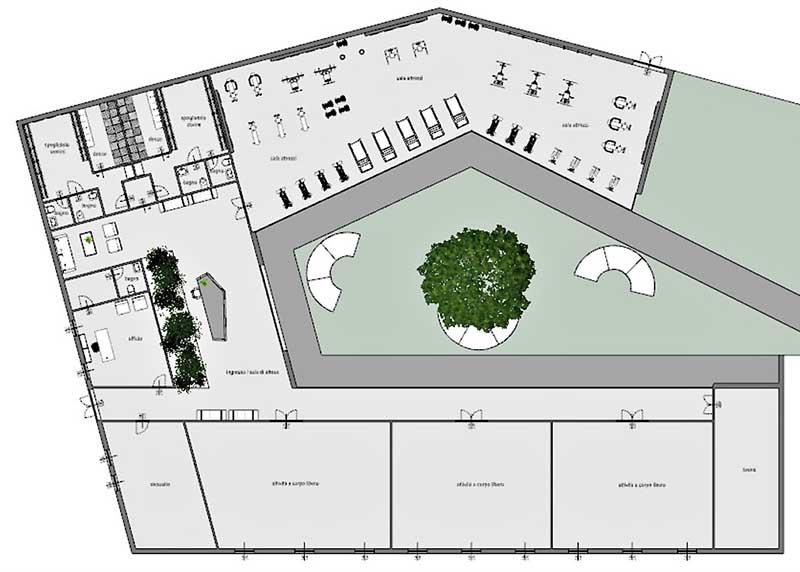 COVID-19-réhabiliter salles de sport : une vue plan en forme de C de la situation de la salle de sport