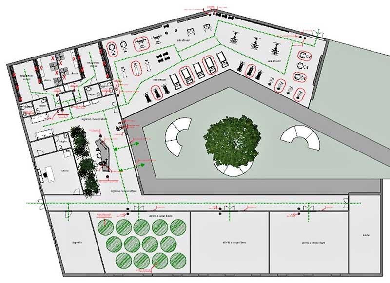 COVID-19-réhabiliter salles de sport : une vue plan en forme de C de la situation de conception de la salle de sport avec tous le changement pour réhabiliter les différents espace