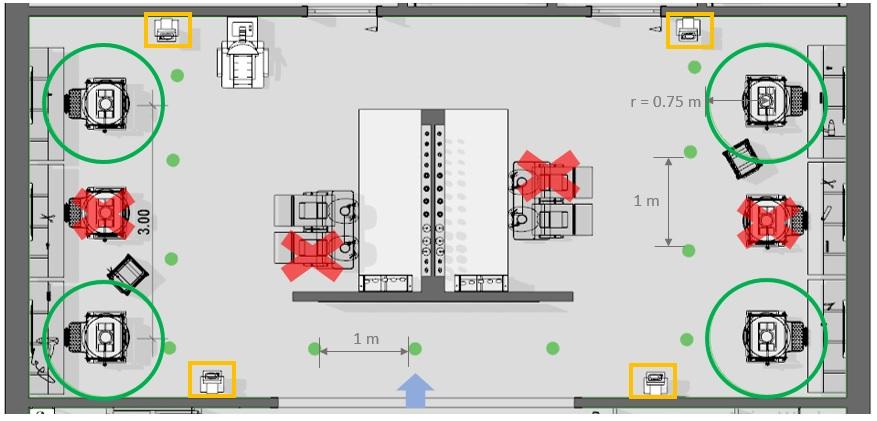 COVID-19 salons de coiffure : vue en pla de la situation de conception avec les postes de travail qui ne sont pas utilisé