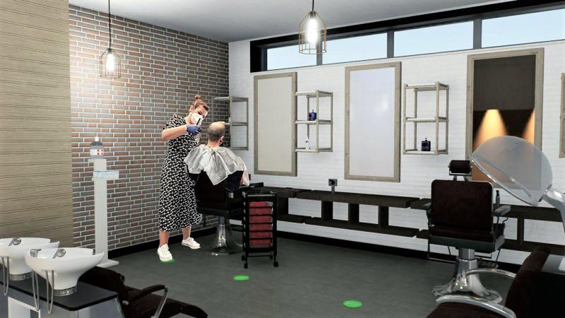COVID-19 salons de coiffure l'image est un rendu de la zonne de coupe et la zone de lavage