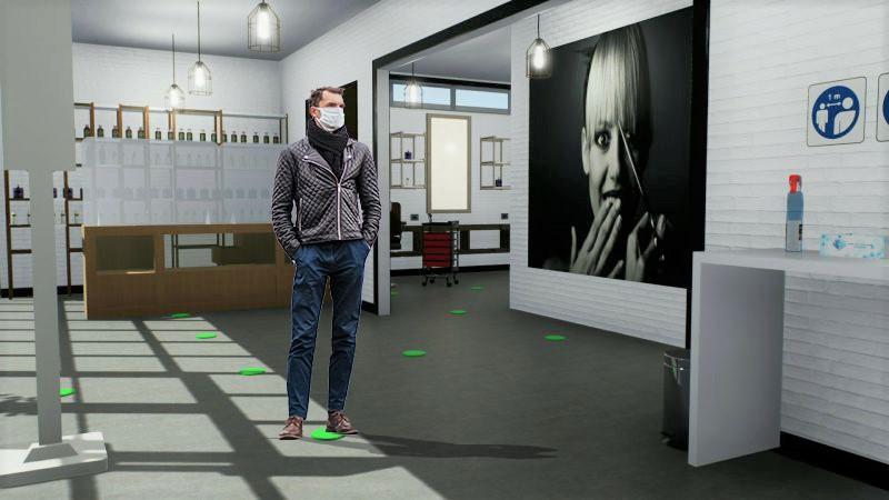 L'image est un rendu du salon de coiffure avec un personnage debout qui attends sont tours sur les marques indiquées au sol