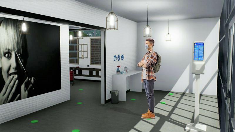 COVID-19 salons de coiffure : L'image est un rendu du salon de coiffure avec un personnage debout qui attends sont tours sur les marques indiquées au sol