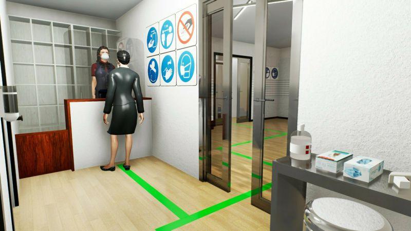 Réhabiliter une maison d'hôtes covid-19 : l'image et un rendu de l'entrée avec la réceptionniste et la cliente qui suit le parcours signaler au sol par des bandes vertes, issu du logiciel Edificius