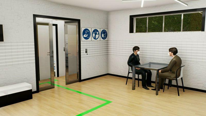 Réhabiliter une maison d'hôtes covid-19 : l'image et un rendu de l'espace commun intérieur avec deux personnes assises à une table et l'on voit toujours le parcours signaler au sol par des bandes vertes, issu du logiciel Edificius