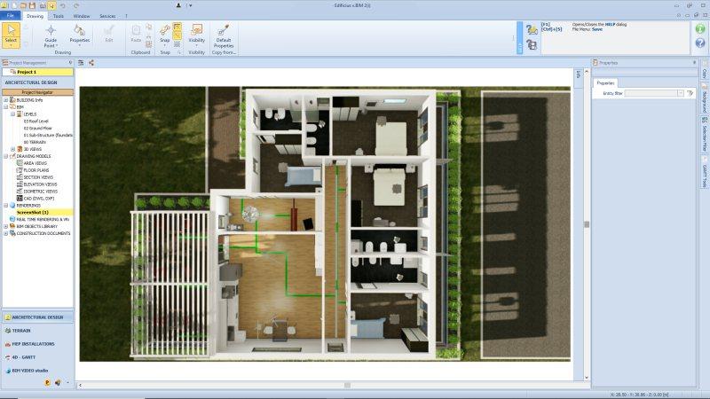 L'image est un rendu qui montre comment réhabiliter une maison d'hôtes covid-19, c'est une vue en perspective ou l'on distingue les différents environnements