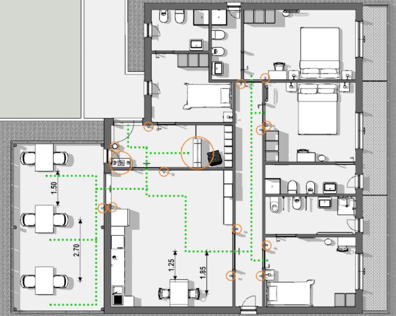 L'image représente un vue en plan de la situation de conception pour réhabiliter une maison d'hôtes covid-19