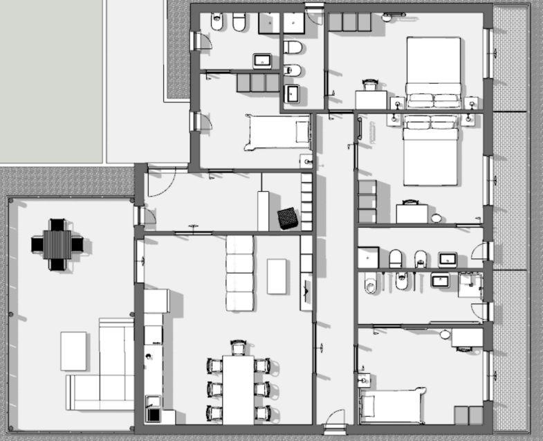 L'image représente un vue en plan de la situation existante pour réhabiliter une maison d'hôtes covid-19