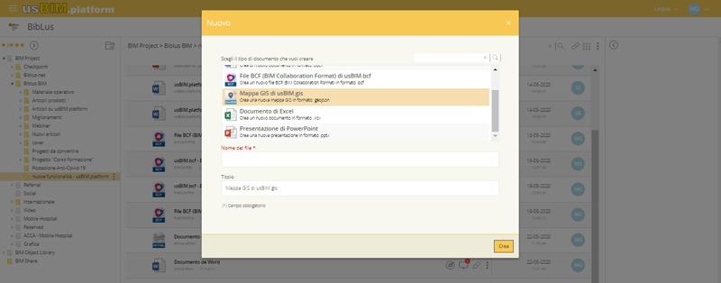 Créer un nouveau document avec usBIM.platform