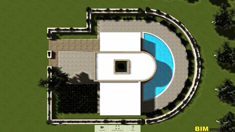 L'image est une capture d'écran de la maison individuelle en forme carrée avec un demi cercle vue d'en haut dans la navigation de BIM VOYAGER
