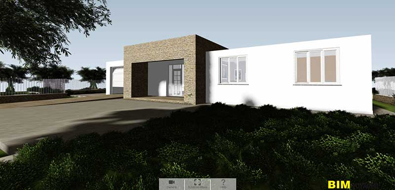 L'image est une capture de la facade de la maison avec la porte d'entrée dans la navigation de BIM VOYAGER