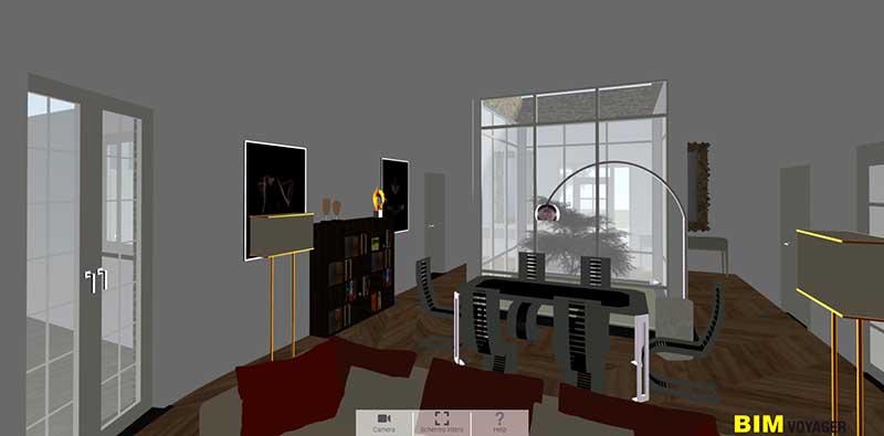 L'image est une capture d'écran du salon avec une fenêtre qui donne sur le patio de la maison dans la navigation de BIM VOYAGER