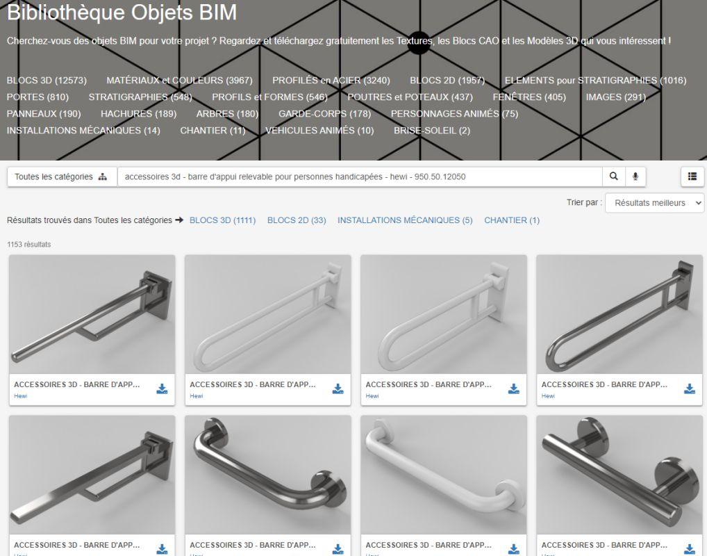 Fonctionnalité bibliothèque d'objets BIM issue du logiciel Edificius